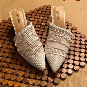 Just Fab white mules